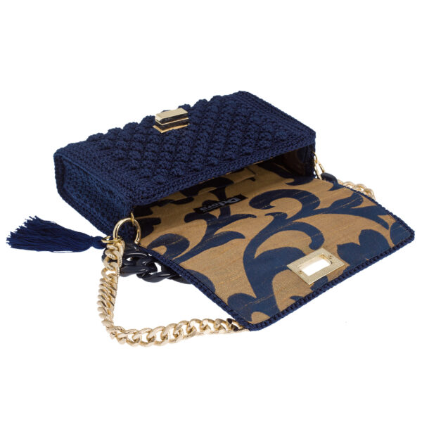 Ddora Leto handbag navy blue opened
