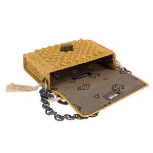 Ddora Leto handbag golden ochre opened