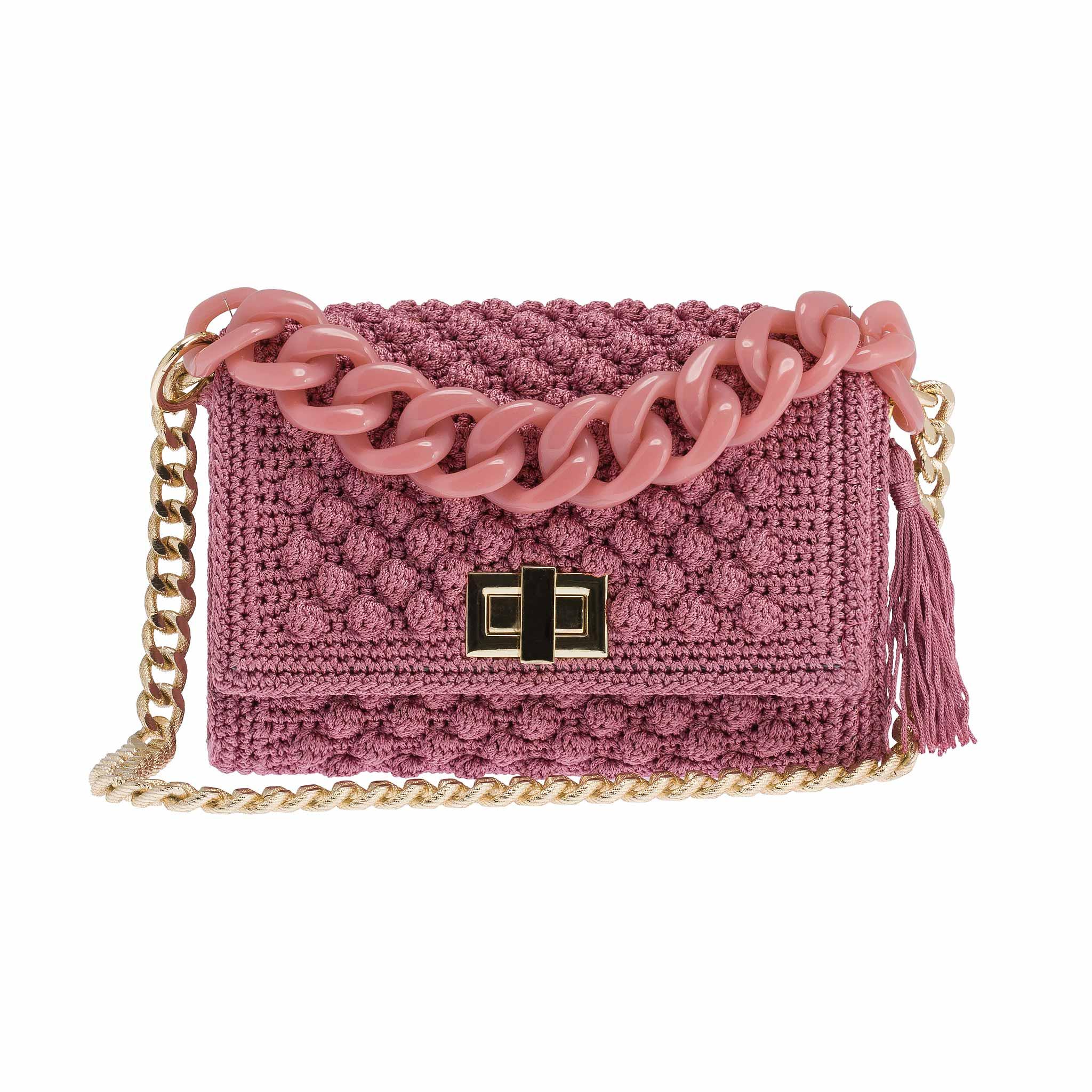 de27ec8ad4 Χειροποίητη πλεκτή τσάντα Λητώ σε ροζ nude - Ddora