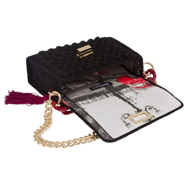 Ddora Leto handbag black opened