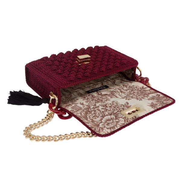 Ddora Leto handbag burgundy opened