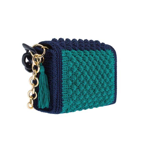 Ddora Harmony handbag blue-bright green back