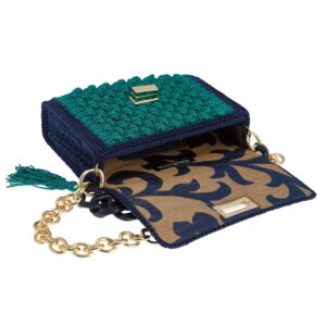 Ddora Harmony handbag blue-bring green opened
