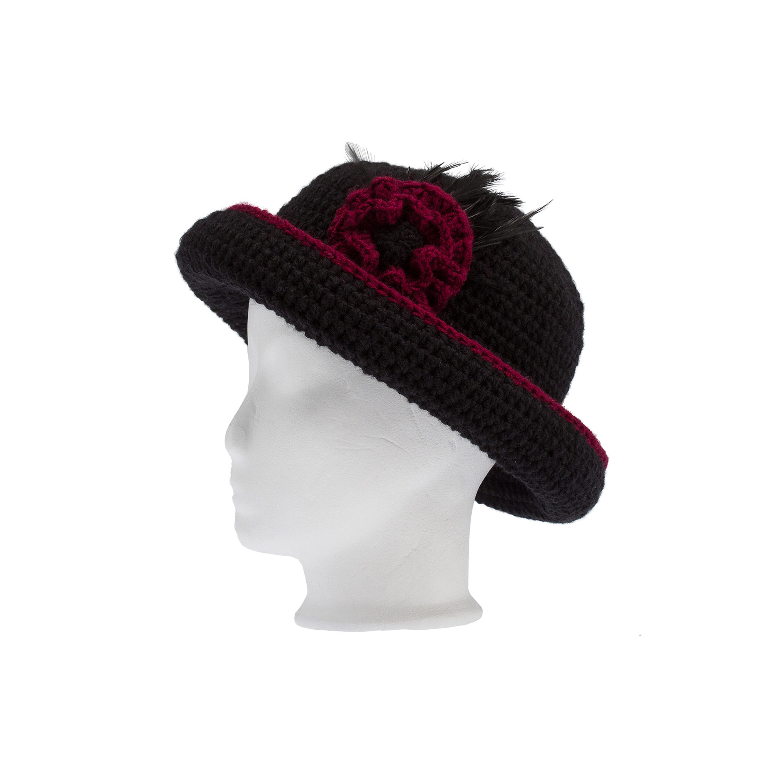 Handmade Crochet Hat In Black With Feathers Ddora