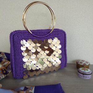"Handmade crochet handbag ""IRIS"" embellished with golden sequins, colour: purple"